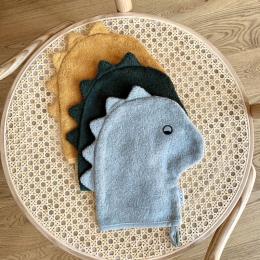 Set de 3 gants de toilette Sylvester - Dino dove blue mix