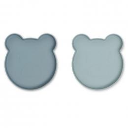 Set de 2 assiettes Marty - Mr bear blue mix