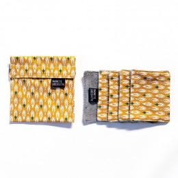 Pochette + 5 lingettes démaquillante en coton - 8 x 10 cm - Pilam