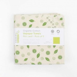 Essuie-tout lavable en coton bio - Feuille de menthe - Paquet de 5