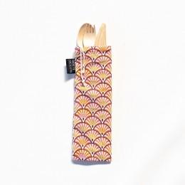Couverts en bois avec pochette en coton - Motif Yona