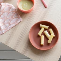2 assiettes creuses en silicone avec ventouse - 300 ml - Blush et Terracotta