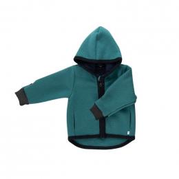 Gilet veste à capuche - Laine foulée - Emeraude