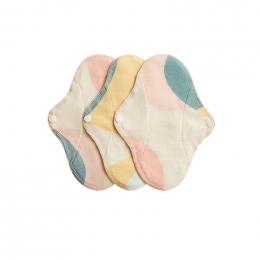 3 serviettes hygiéniques lavables - coton BIO - MINI - Pastel Hoop