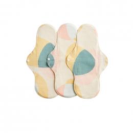 3 serviettes hygiéniques lavables - coton BIO - NUIT - Pastel Hoop