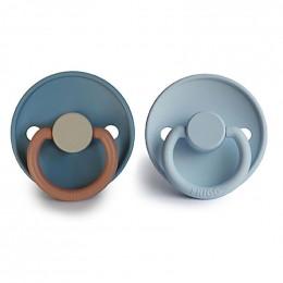 Set de 2 tétines en latex Color - Breeze/baby blue