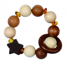 """Hochet en bois""""étoile"""" avec perles d'ambre etélastique - à partir de 3 mois"""
