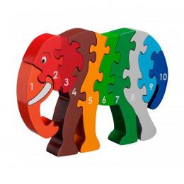 Houten puzzel met Olifant van 1 tot 10