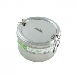 Ronde inox doos met twee lagen - 800 ml