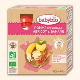 Vruchtenmoes - appel-abrikoos-banaan - vanaf 12 maanden - pack van 4