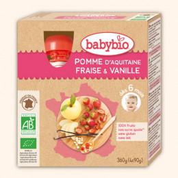 Vruchtenmoes - appel-aardbei-vanille - vanaf 12 maanden - pack van 4