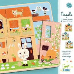 Houten puzzel Met 3 Lagen - Rabbit Cottage