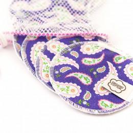 Wasbare wattenschijfjes - Purple Paisley - 10 stuks