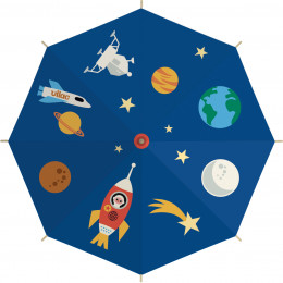 Kosmische paraplu met raketten en planeten