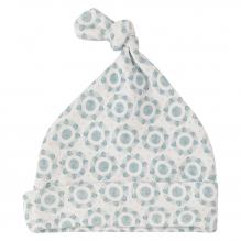 Wit babymutsje uit BIO katoen met blauwe bloemen