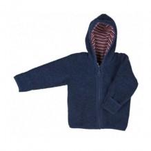 Sweater met kap in fleecewol - Donkerblauw