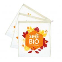 3 herbuikbare dunne zakjes voor fruit en groenten in BIO katoen - Herfst Sebio