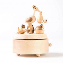 Manège musical en bois - Cigogne