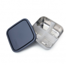 To go Médium boîte carrée en inox avec séparateurs et couvercle océan - 850 ml
