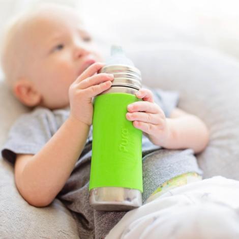 Set van 2 evolutieve roestvrijstalen flessen - 325 ml - 3 tot 18 maanden - Groen en turquoise
