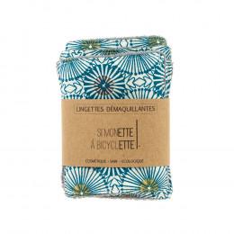 Lingettes démaquillantes - 8 x 10 cm - lot de 5 - Fleurs bleues