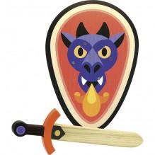 Epée et bouclier en bois - Dragon - à partir de 4 ans