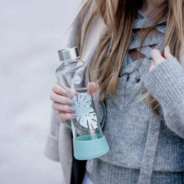 Glazen fles 550 ml - Monstera
