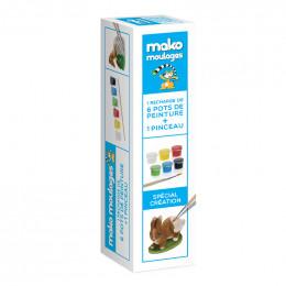 Navulling van 6 verfpotjes voor Mako moulages + verfkwast