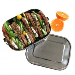 Rechthoekige roestvrijstalen lunchbox met clips Large