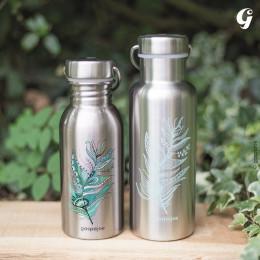 Gourde Isotherme Groovy Inox - Champètre rose - 750 ml