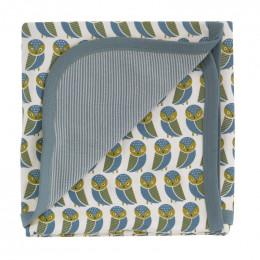 Couverture en coton BIO - Hiboux bleu