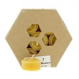 7 waxinelichtjes van bijenwas - ZONDER houder