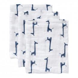 Set van 3 washandjes - giraf indigo blue