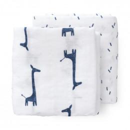 Set van 2 (inbaker)doeken - giraf indigo blue (70x60)