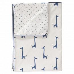 Dekenhoes wieg - giraf indigo blue (80x80)