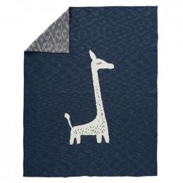 Gebreide deken Giraf indigo