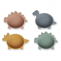 Set van 4 siliconen bowls Iggy - Dino multi mix