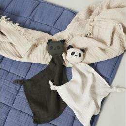 Set van 2 Yoko mini knuffeldoekjes - Panda hunter green/sandy mix