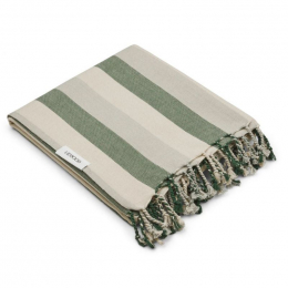 Mona strandhanddoek - Y&D stripe: Garden green&sandy&dove blue