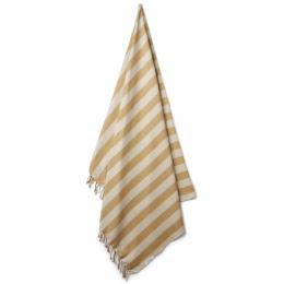 Mona strandhanddoek - Y&D stripe: Mustard&sandy