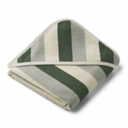 Alba baby badcape - Y&D stripe: Garden green & sandy & dove blue