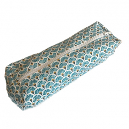 Plumier trousse en tissu lavable - A5 - Eventail bleu