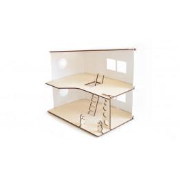 Poppenhuis van hout en Priplak wit (29X40X38)